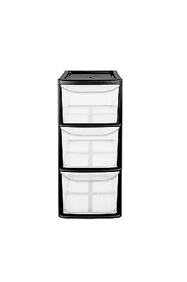 3 Drawer Medium Tower Plastic Storage Unit - Black