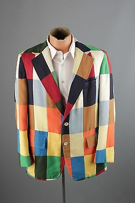 Vtg Men's 70s Crazy Colorful Patchwork Blazer sz M or L 1970s Jacket #2451