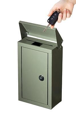 Outdoor Large Key Drop Box Galvanized Steel Wall-Mount Powder-Coated Key Fob