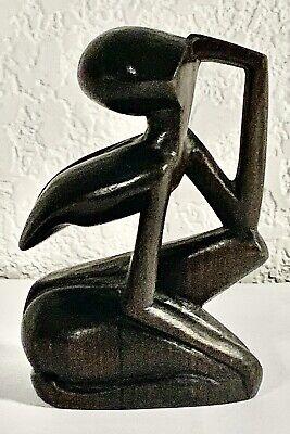 "Indonesia Papua New Guinea Tribal Wood Hand Carved Figurine Vintage Souvenir 5"""