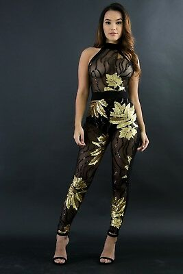 Sequin Cat Suit (Black ONLY Sequin Sheer Mesh Glitter Leaf Halter Neck Jumpsuit Catsuit S M)