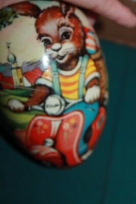 Antique Paper Mache Easter Egg from Western nGermany , Bunny on moped 6 inches