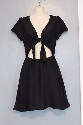 Sir The Label Black Silk Elsa Cutout Tie Front Dress Size 1 or Small