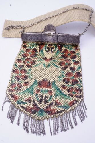 Antique Mesh Purse Vintage Enamel Flapper Art Deco Bag PAT.APPL