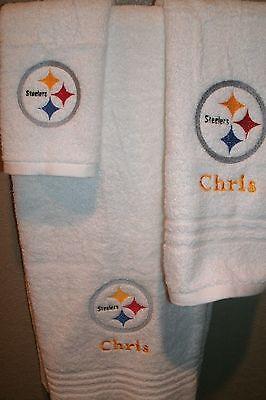 Steelers Personalized 3 Piece Bath Towel Set Football Your Team & Color Choice  (Steelers Towel Bath)