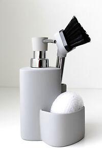 Ceramic Kitchen Soap Dispenser Sponge Scrubby Dish Brush Caddy Sink Organizer