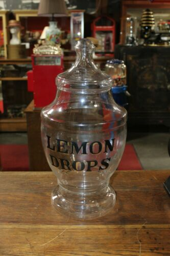 Candy Jar with Lemon Drops General Store Glass or Apothecary Vintage