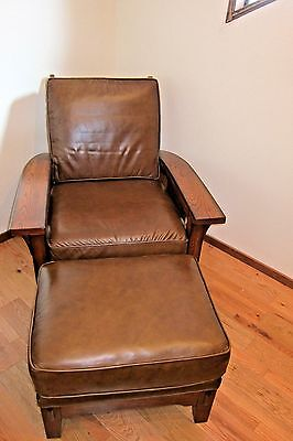 Flexsteel Arts   Crafts Mission Style Dark Oak Leather Las Cruces Morris Chair