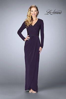 NEW LA FEMME 24927 Purple Plum Beaded Waist Jersey Faux Wrap Tulip Skirt Gown 12 Beaded Jersey Skirt