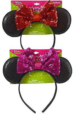 Disney Sequins Minnie Mouse Ears  Bow Headband Halloween Costume Party