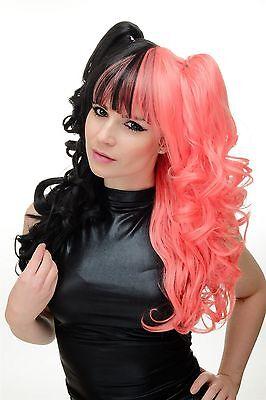 3-teilig Perücke Zöpfe Cosplay geteilt halb Schwarz Pink - Lockige Perücke Pink