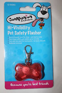 Hi visibility LED Light Up Pet Safety Flasher Collar Clip for Dogs Cats New