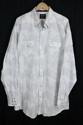 Wrangler George Strait Troubadour Mens Western Shirt White Paisley Snaps sz 2XLT
