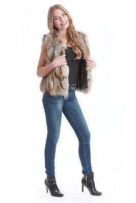 Fox Fur Brown Beige Grey Luxury Fur Designer Fashion 38 - 40 Fur Vest М EX