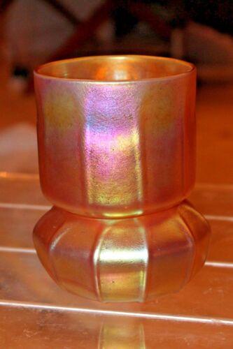 CONTEMPORARY STEUBEN STYLE [GOLD AURENE] 2 PIECE CANDLE HOLDER