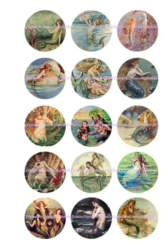 """MERMAIDS 1 """" CIRCLES  BOTTLE CAP IMAGES. $2.45-$5.50 *****FREE SHIPPING*****"""