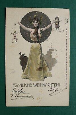 AK FR HLICHE WEIHNACHTEN 1899 BAHNPOST WIEN SPIELZEUG FRAU MODE KLEID CHRISTMAS