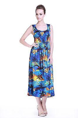 Maxi Tropical Luau Sun Dress Cruise Plus Size Tank Elastic Floral Sunset Blue