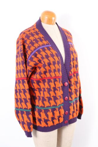 Vintage 90s CABIN CREEK Hounds Tooth Cardigan Sweater USA Women