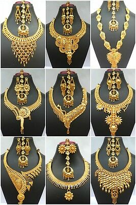 Indian Gold Jewelry - Indian 22K Gold Plated Wedding Necklace Earrings Jewelry Variations tikka Set