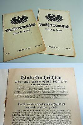 LEICHTATHLETIK / Deutscher Sport-Club BRESLAU 1926, 2 x Club-Nachrichten 1934