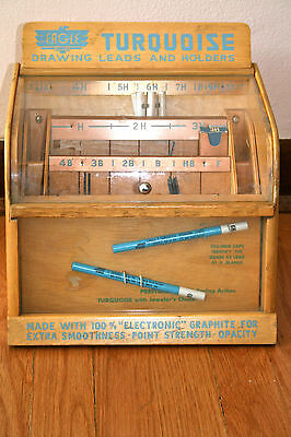EAGLE Turquoise Drawing Leads and Holders DIsplay Case with leads on Rummage