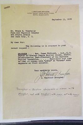 J. Whitcomb Brougher 1933 TLS