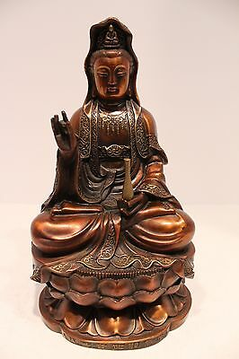 Beautiful Dark Bronze Colored Brass Kwan Yin Figurine Statue
