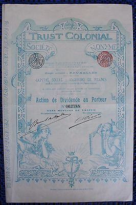 Trust Colonial , Brüssel 1899 - Kolonialgesellschaft -