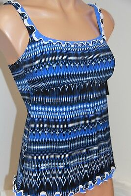 Nwt Profile By Gottex Swimsuit Tankini Top Sz 14 Blue