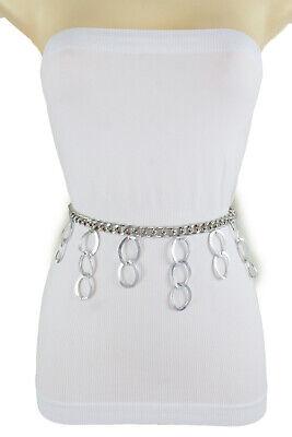 Women Silver Metal Chain Link Belt Narrow Waistband Dangle Ring Charms M L -