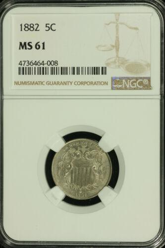 Shield Nickel. 1882 NGC MS 61. Lot # 4736464-008