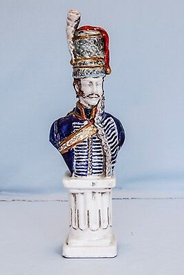 Vintage Porcelain Bust French Napoleon Napoleonic Soldier on Pedestal Waterloo
