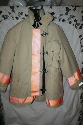 Body Guard Vintage Canvas Leather Firefighter Coat Turnout Jacket Nos Large