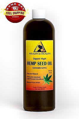 HEMP SEED OIL UNREFINED ORGANIC CARRIER VIRGIN COLD PRESSED RAW PURE 16 (Raw Organic Cold Pressed Hemp Seed Oil)