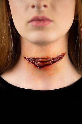 Walking Dead Zombie Cut Throat Laceration Prosthetic Cosplay Halloween