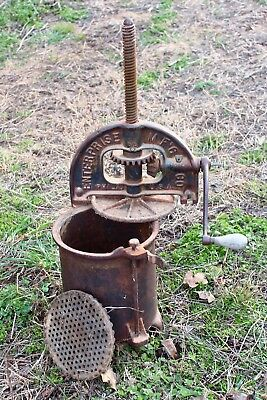 Enterprise 8 Quart Lard Press Cast Iron Sausage Stuffer Fruit Apple Cider