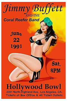 Jimmy Buffett & The Coral Reefer Band at Los Angeles Concert Poster 1991