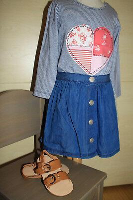 SET Jeans Rock + La Shirt Herz Gr. 92 zur Zara SANDALE Neu mit Etikett   gebraucht kaufen  Taunusstein