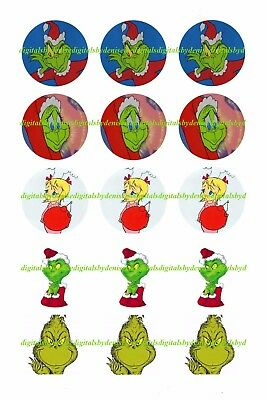 Christmas The Grinch 1  Circles  Bottle Cap Images   2 45  5 50 Free Shipping