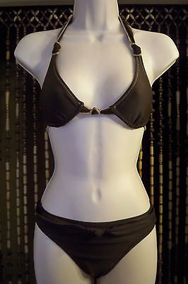 Chocolate brown/tan 2 piece bikini bathing suit womens XS