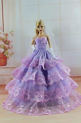 Purple Fashion Princess Dress/Clothes/Gown+Veil+Gloves For Barbie Doll S305