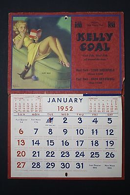 Original 1952 Art Frahm Pinup Advertising Calendar - Detroit, Michigan Coal Co.