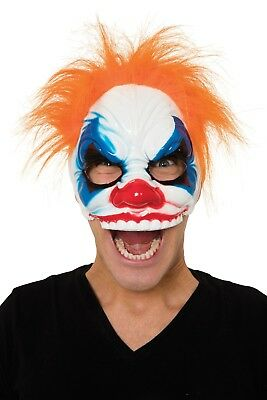 HALLOWEEN PARTY ADULT SCARY CLOWN HALF MASK WITH ORANGE HAIR  LARGE TEETH NEW - Clown Mask With Orange Hair