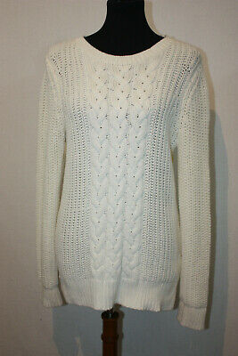 Nautica Women's Sz L White Scoop Neck Cable Knit Chunky Sweater