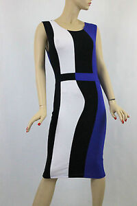 PLUS SIZE Sleeveless Rayon COLOR BLOCK Fitted Body Con Dress