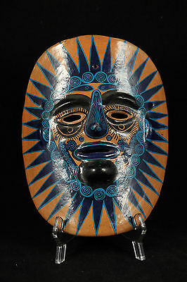 Vintage Mexican Ceramic Hanging Mask Folk Art Hand Formed/Painted Large Blue