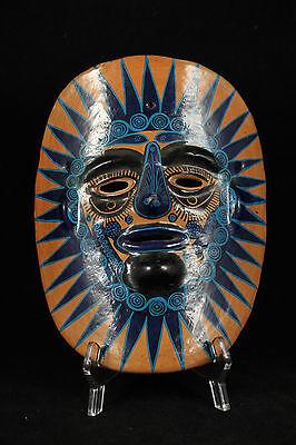 Vintage Mexican Ceramic Hanging Mask Folk Art Hand Formed/Painted Large Blue