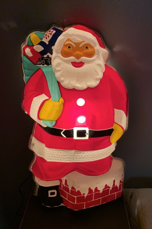 "Vintage 19"" Santa Claus Noma Glolite Stand Up Lights Display No 95"