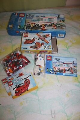 Lego City Ambulance 4431 and Lego Red Rotors 31003 Very Incomplete